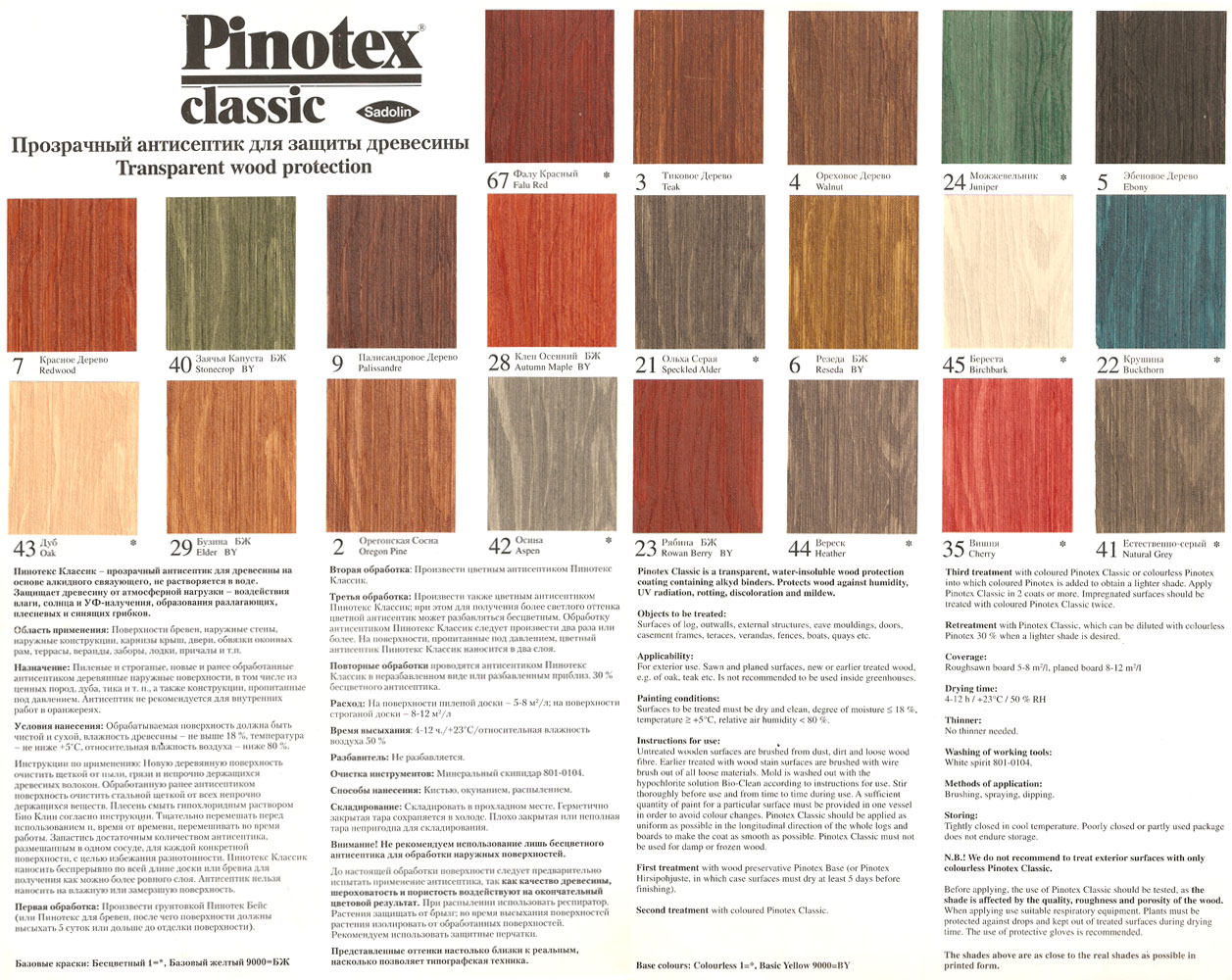 Пинотекс таблица цветов